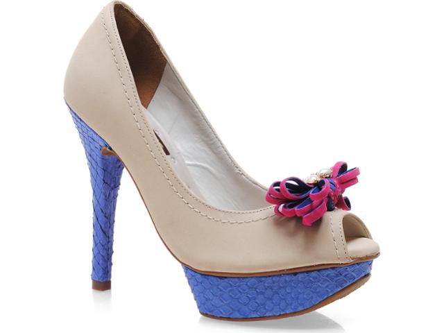 Peep Toe Feminino Via Marte 12-504 Off White/azul