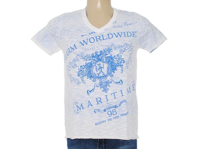 Camiseta Masculina Dzarm 6byw Au610 Branco/azul Bic