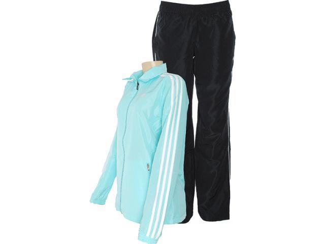 Abrigo Feminino Adidas Z31489 Ess 3s Woven su Azul Bb/preto