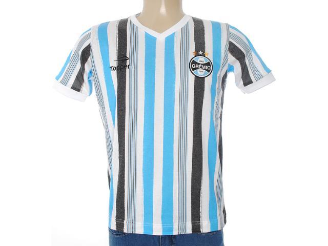 Camiseta Masculina Grêmio C7116m Branco/preto/azul