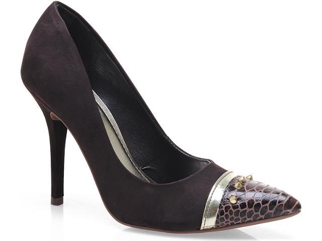 Sapato Feminino Via Marte 13-5902 Café/chocolate/dourado