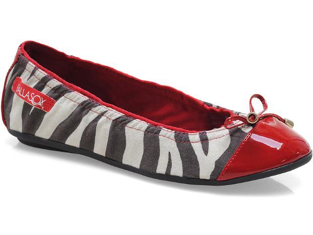 Sapatilha Feminina Ballasox 2237251 Zebra/marfim/preto/tomate