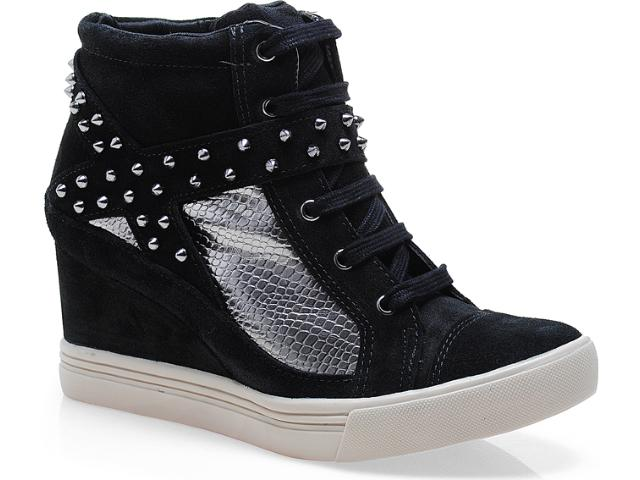 Sneaker Feminino Via Marte 13-3908 Preto/prata Velha