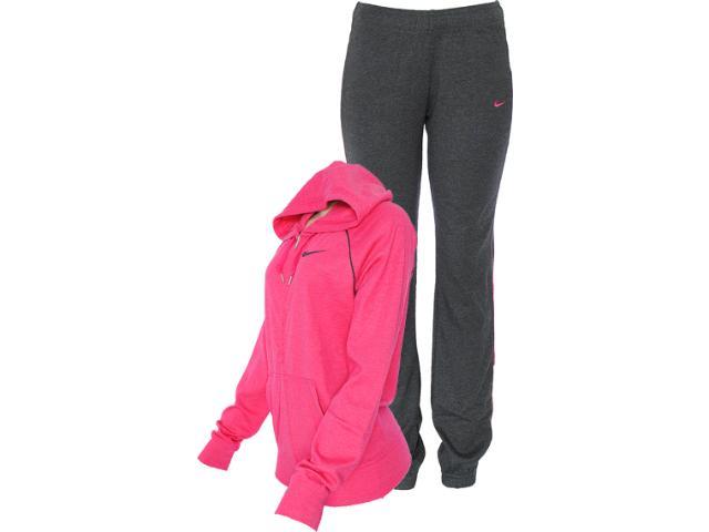 Abrigo Feminino Nike 521879-603 Classic Jersey Com Capuz Pink/chumbo