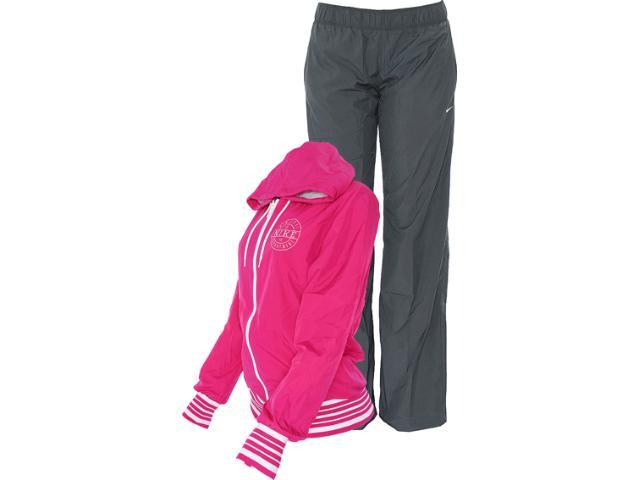 Abrigo Feminino Nike 521885-670 Hooded Taffeta Pink/chumbo