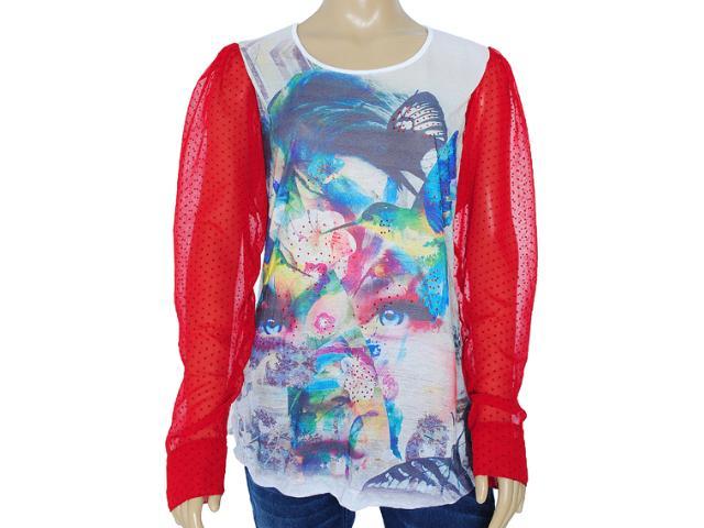 Blusa Feminina Meia Loka 3164 Branco/vermelho