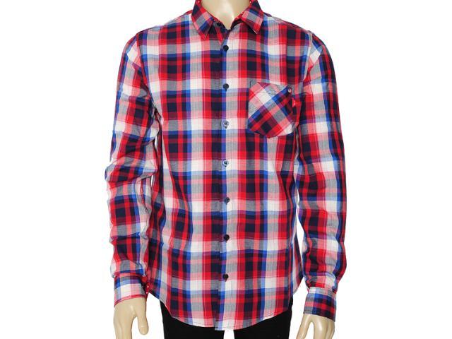 Camisa Masculina Coca-cola Clothing 313200378 Xadrez Vermelho