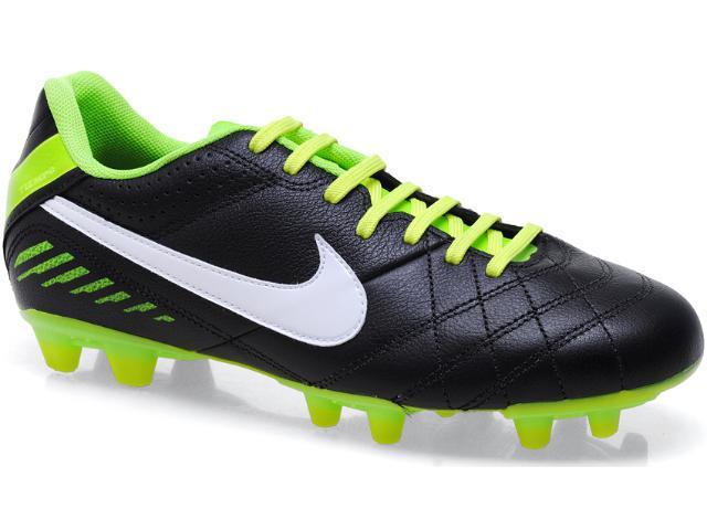 Chuteira Masculina Nike 455714-013 Tiempo Natural iv Lthr fg Preto/limão
