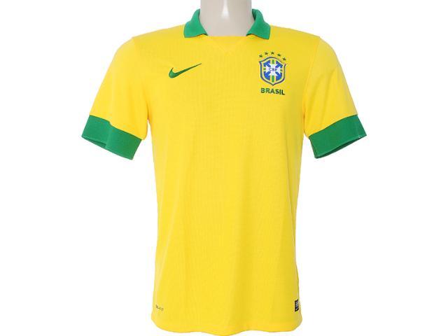 Camisa Masculina Nike 518730-703 Cbf ss Home Repl Amarelo/verde