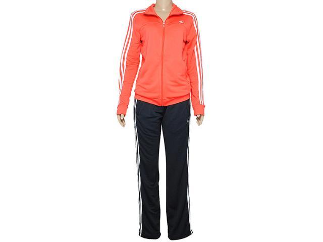Abrigo Feminino Adidas D89814 Ess 3s Knit Wom Laranja/chumbo
