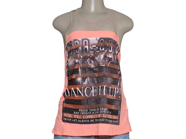Blusa Feminina Coca-cola Clothing 363203010 Laranja Neon Estampado