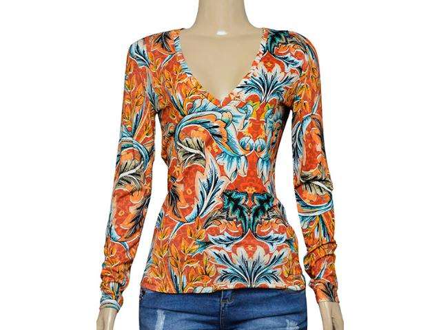 Blusa Feminina Colcci 360111582 Laranja/azul Estampado