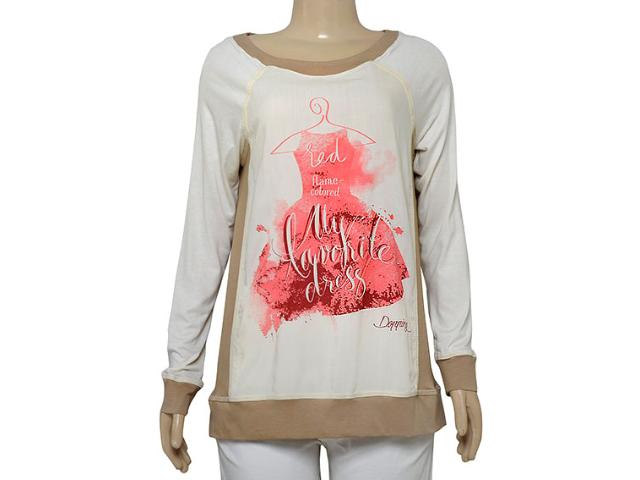 Blusa Feminina Dopping 015664075 Off White Estampado Rosa