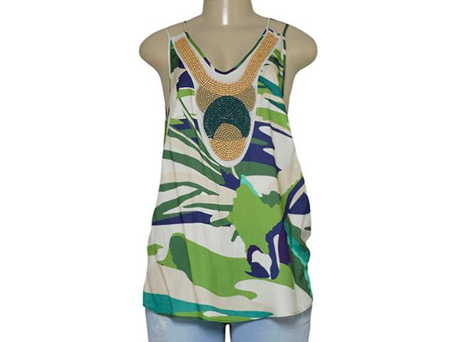 Blusa Feminina Maria Valentina 103907 Estampado Verde
