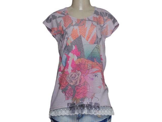 Blusa Feminina Meia Loka 3191 Lilas/estampado