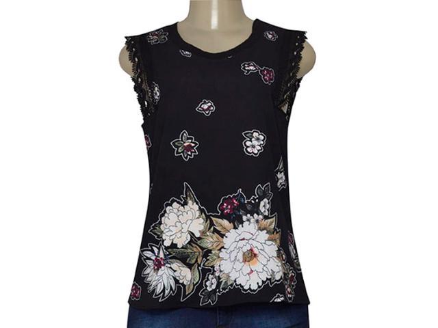 Blusa Feminina Miose 12700 Preto Floral