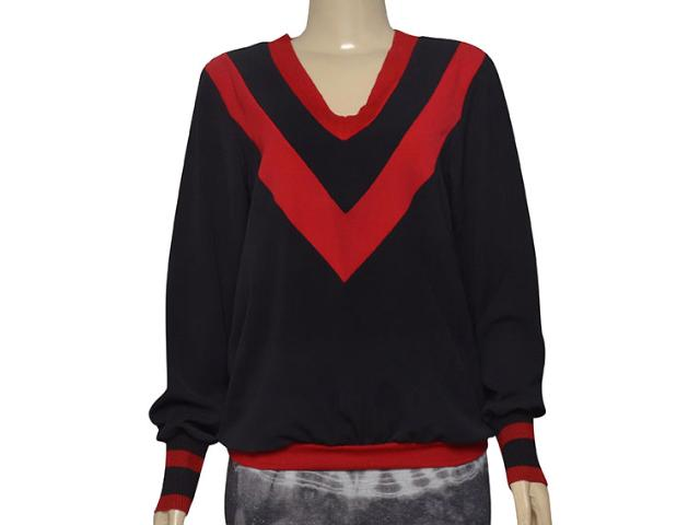 Blusa Feminina Moikana 211100 Preto/vermelho