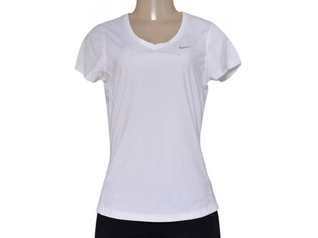 Blusa Feminina Nike 686917-100 Miler V-neck  Branco