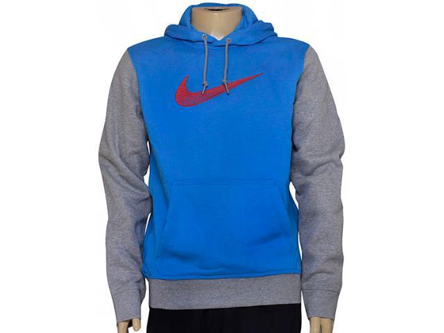 Blusão Masculino Nike 727755-436 Club Fleece Swoosh Azul/cinza