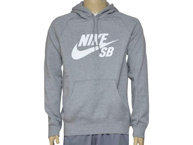 Blusão Masculino Nike 846886-063 sb Icon Pullover Hoodie Cinza
