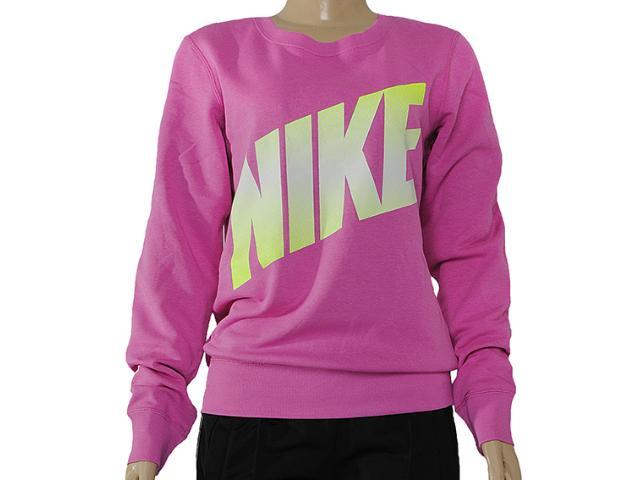 Blusão Feminino Nike 586171-506 Club Crew-graphic Rosa