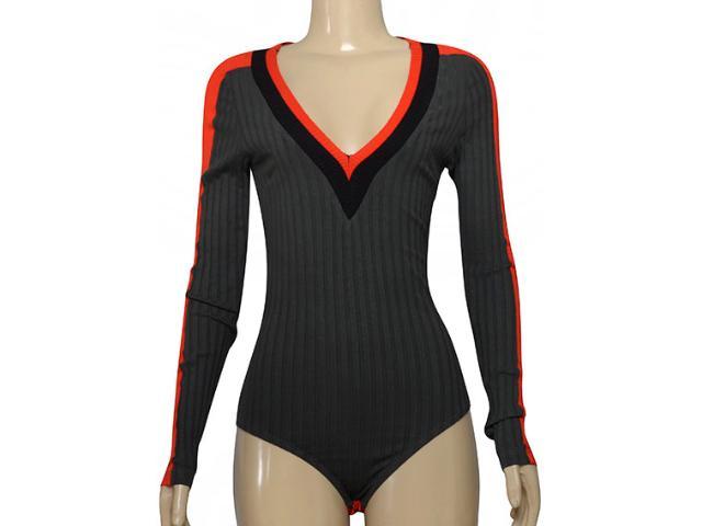 Body Feminino Moikana 215004 Grafite/vermelho