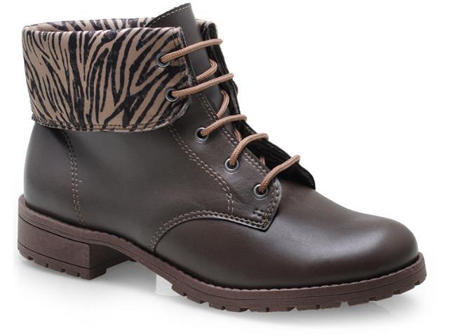 Bota Feminina Gloria Pahs 22001 Taupe/zebra