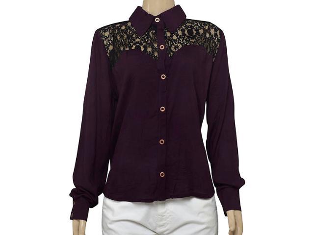 Camisa Feminina Moikana 15181 Vinho/preto