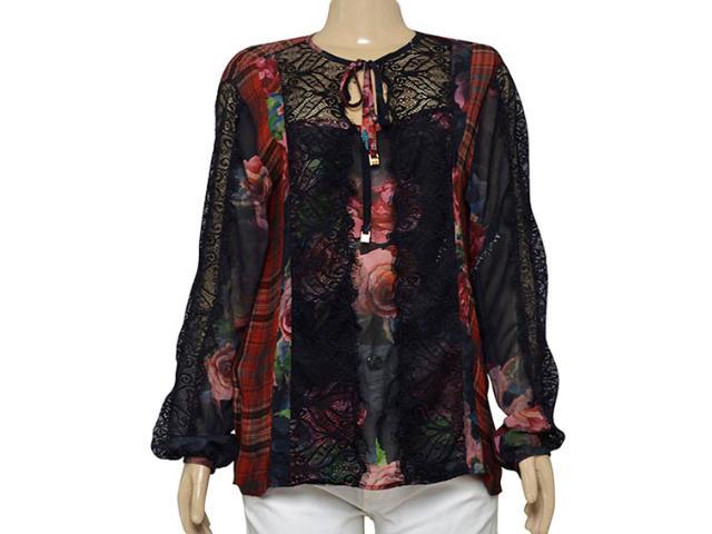 Camisa Feminina Moikana 12537 Vermelho/preto