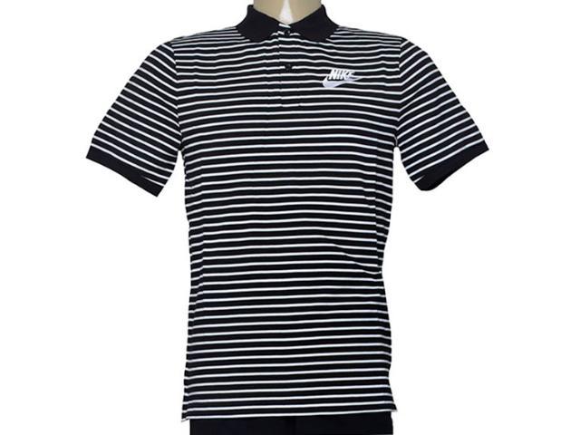 Camisa Masculina Nike 832873-010 m Nsw Polo pq Strp mn  Preto/listrado