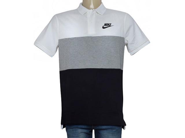 Camisa Masculina Nike 847646-100 Nsw Polo pq Branco/cinza/preto