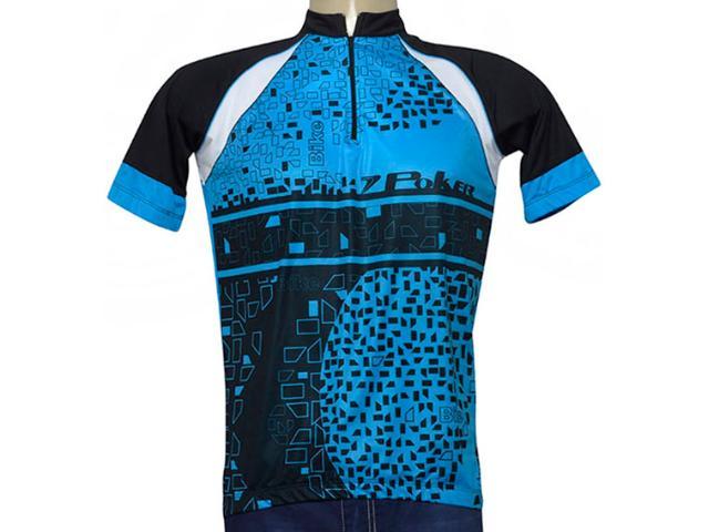 Camisa Masculina Poker 04931 Azul/preto/branco
