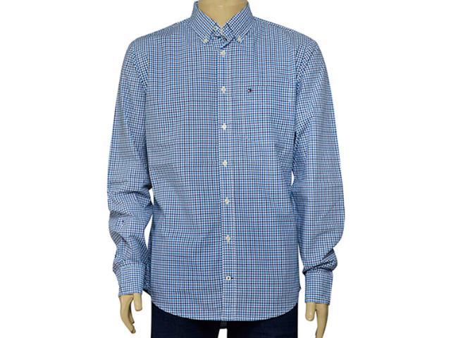 Camisa Masculina Tommy Th0887837835 Xadrez Azul