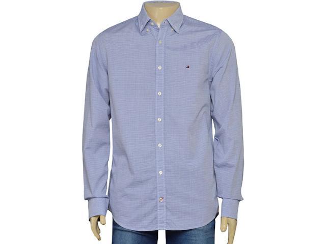 Camisa Masculina Tommy Th0887889489 Listrado Azul/branco