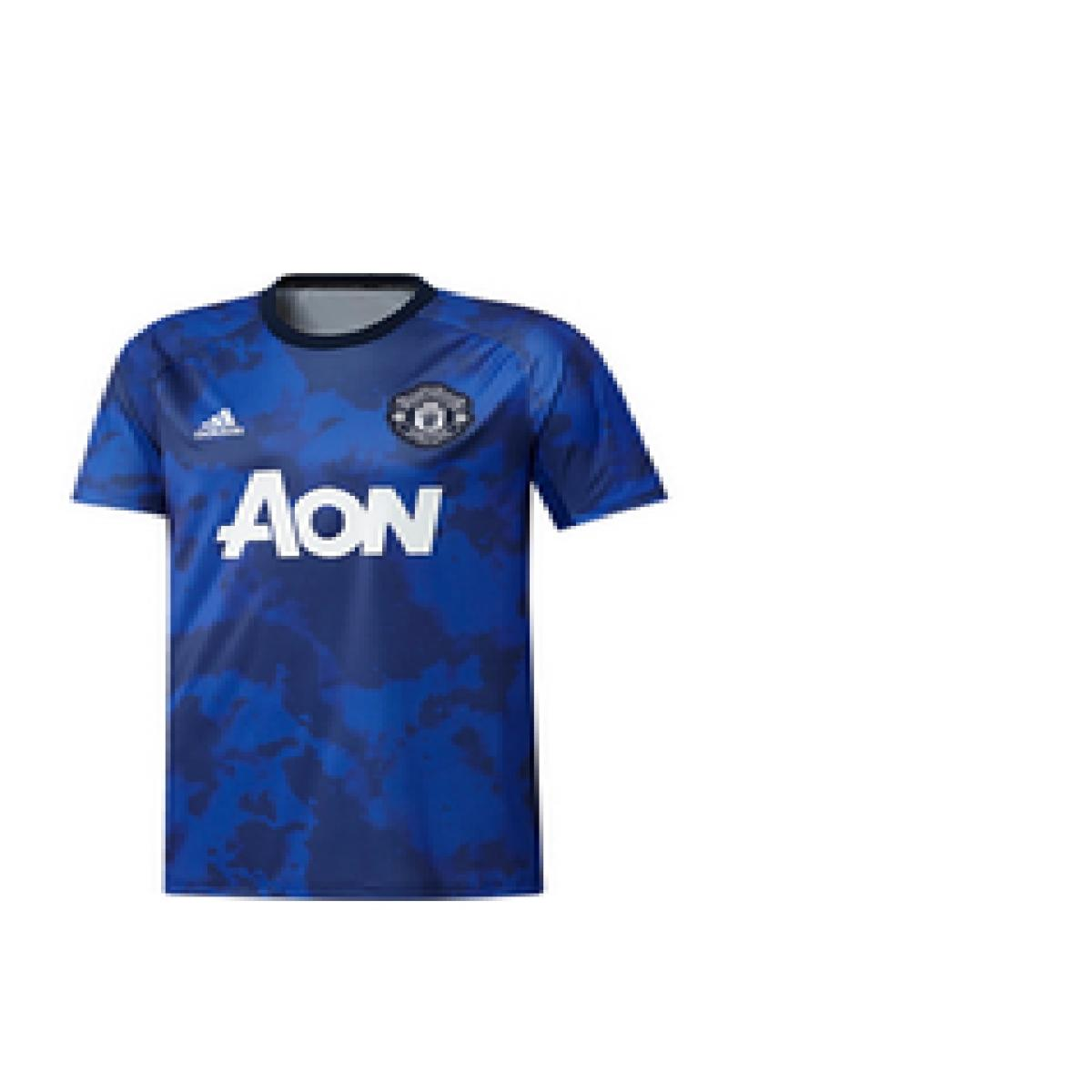 Camiseta Masculina Adidas Dx9089 Pret Jogo Man United i Royal