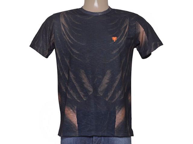 Camiseta Masculina Cavalera Clothing 01.01.8898 Marinho/laranja