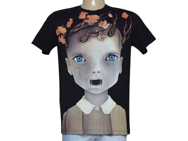 Camiseta Masculina Cavalera Clothing 01.01.9237 Preto Estampado