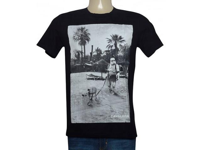 Camiseta Masculina Cavalera Clothing 01.01.9702 Preto/branco