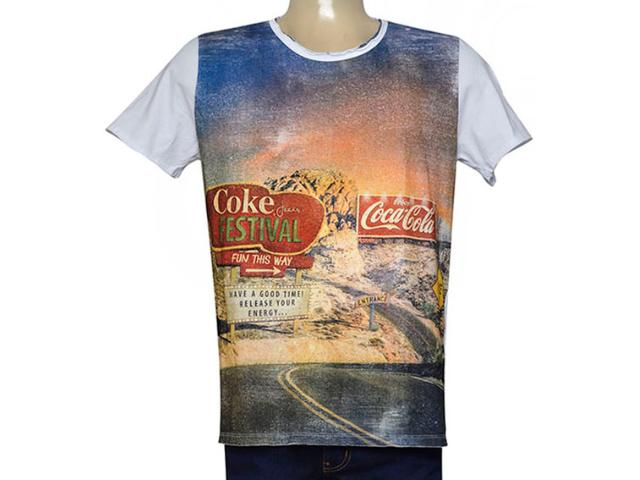Camiseta Masculina Coca-cola Clothing 353205158 Branco Estampado