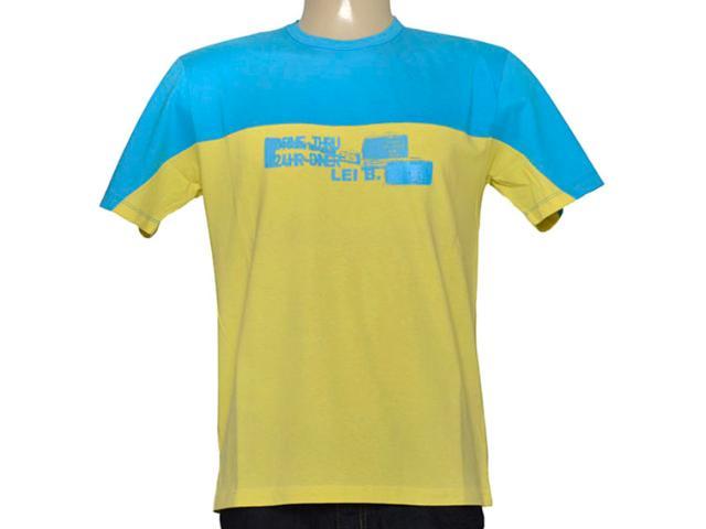 Camiseta Masculina Lei Básica Hl807 Azul/amarelo
