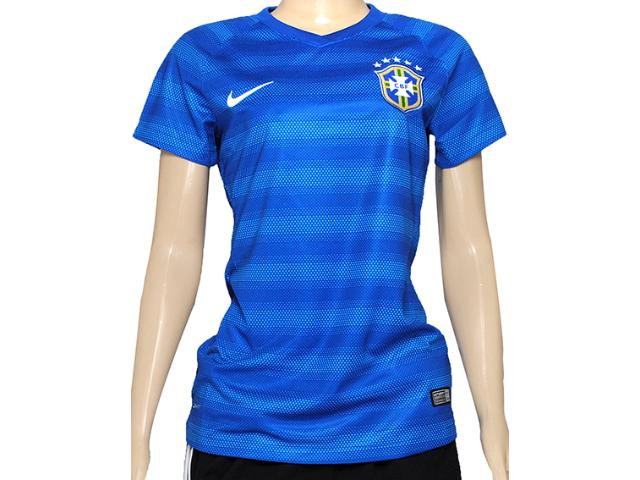 Camiseta Feminina Nike 575306-493 Cbf ss Away Stadium Jsy Azul