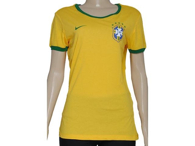 Camiseta Feminina Nike 612964-703 Wmns Cbf Core Ringer Amarelo