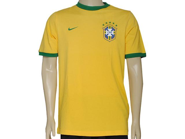 Camiseta Masculina Nike 612167-703curta Cbf Core Ringer Teeamarelo