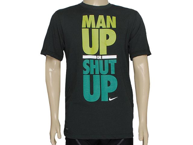 Camiseta Masculina Nike 619112-381 Dfct Man up or Shut up Verde Musgo