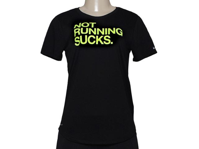 Camiseta Feminina Nike 696726-010 Run p Not Preto/limão