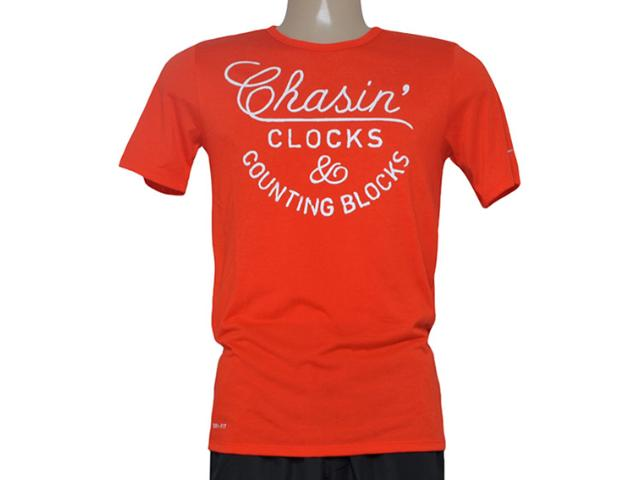 Camiseta Masculina Nike 684017-891 Run p Chasin Clocks Tee  Laranja