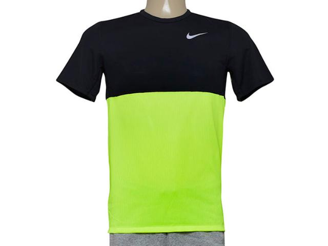 Camiseta Masculina Nike 644396-702 Racer ss   Preto/limão
