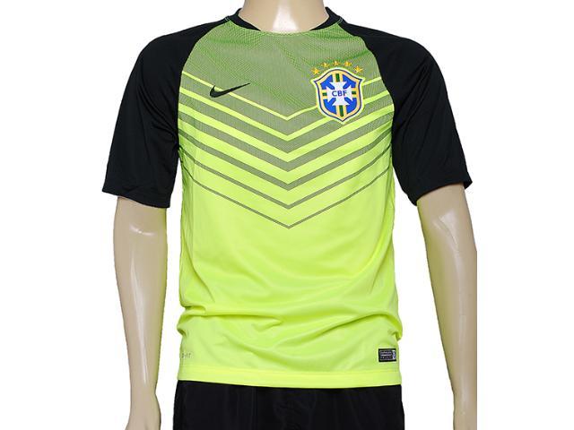 Camiseta Masculina Nike 575702-715 Cbf Squad ss pm Limão/musgo
