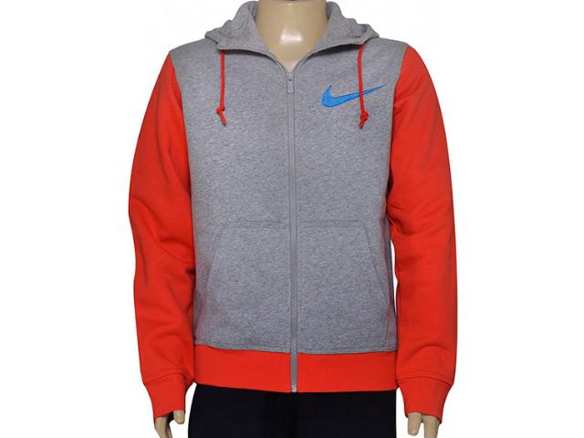Casaco Masculino Nike 727757-064 Club Fleece Swoosh Full Cinza/vermelho