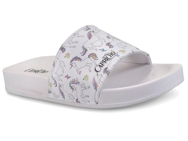 Chinelo Feminino Capricho Cp3080 Slide Unicornio Branco